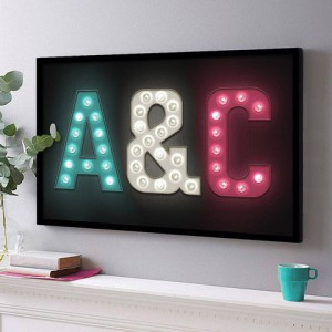 Personalised Marquee Letter Light Initials Print, £95 from The Drifting Bear Co.