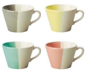 Dip Dye Earthenware, Set of 4 Mug - Mixed Colours, £12.50 Tesco