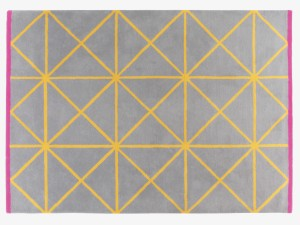 Grid Greys Wool Medium Geometric Pattered Rug