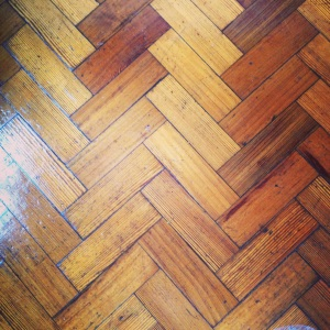 The parquet flooring in Mark's Flat