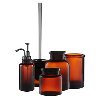 Amber Glass Bathroom Accessories: Toothbrush Holder, Storage Jars, Soap Dispenser and Toilet Brush, starts from £5 - John Lewis