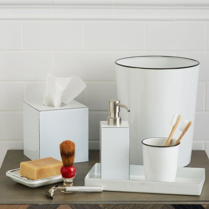 Enamel Bath Accessories: Tray, Soap Dish, Soap Pump, Tissue Box, Toothbrush Holder and Waste Bin, starts from £14 - West Elm