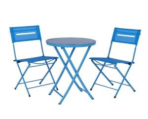 Garden Bistro Set in Textilene Blue, Wilko - £40.00
