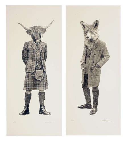 The Highland Bull and The Fox prints by Masha, £35 each from The Tab Collective