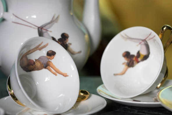 Melody Rose Trapeze Girl and Boy Teacups