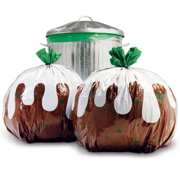 Christmas Pudding Bin Bags, £8.99 for a pack of 12, available from I Want One Of Those