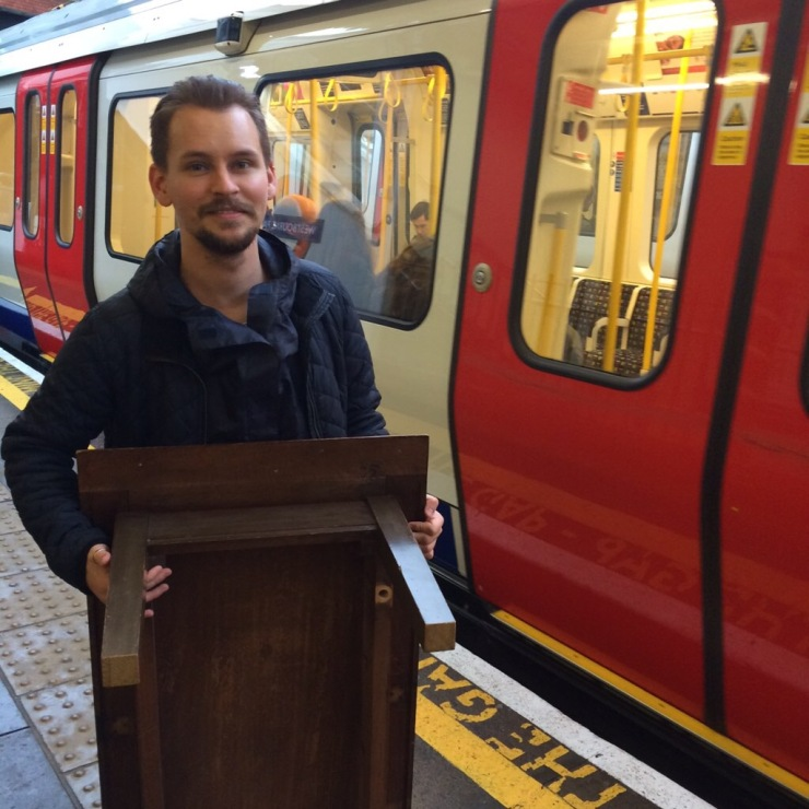 taking our coffee table on the tube