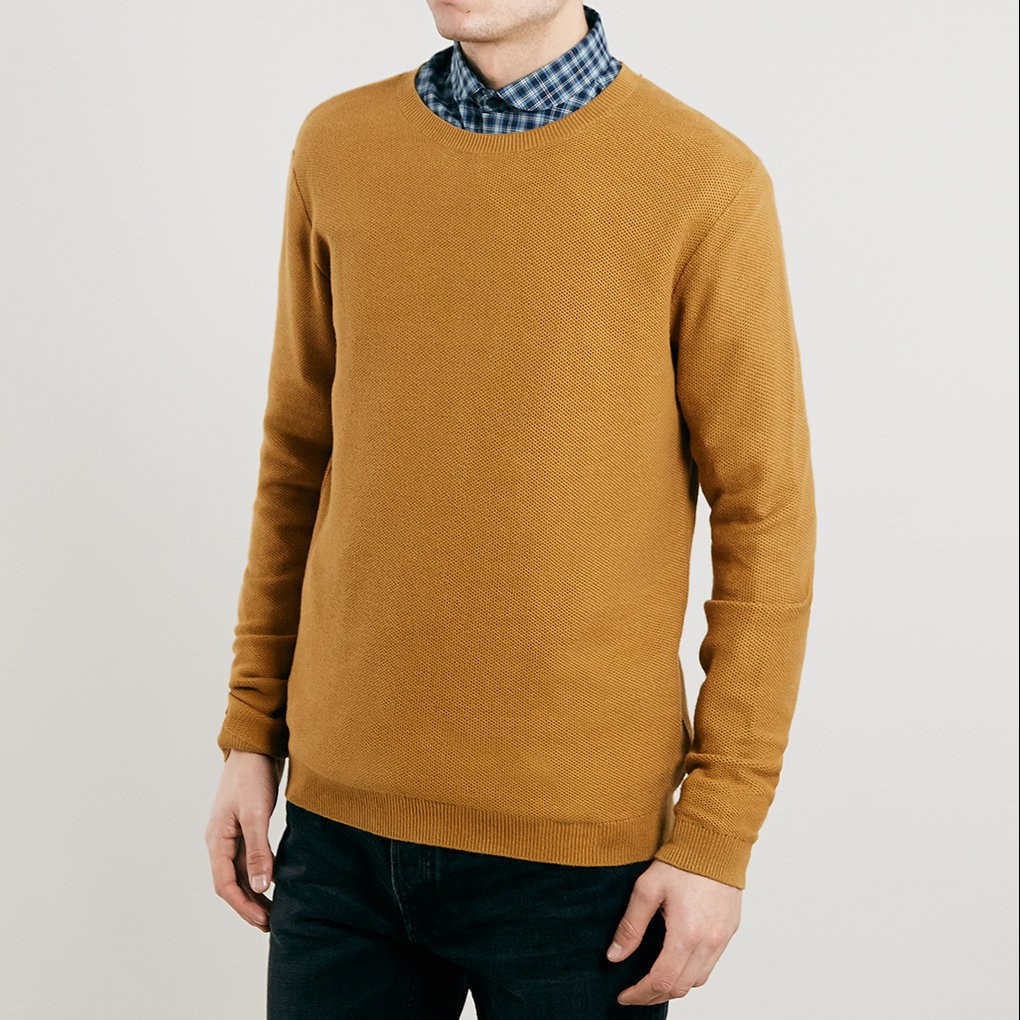 Mustard Marl Textured Crew Neck Jumper, £28 from Topman