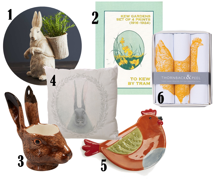 Egg cellent easter ideas hare egg cup 1095 from liberty 4 cushion 50 from out there interiors 5 tea bag tidy 2 from wilko 6 hanky box 1850 from thornback peel negle Images
