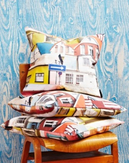 Ella Doran Rekki in Reykjavik cushions and Wood Grain Blue wallpaper