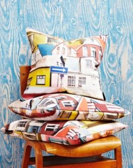 Ella Doran Rekki in Reykjavik cushions and Wood Grain Blue wallpaper