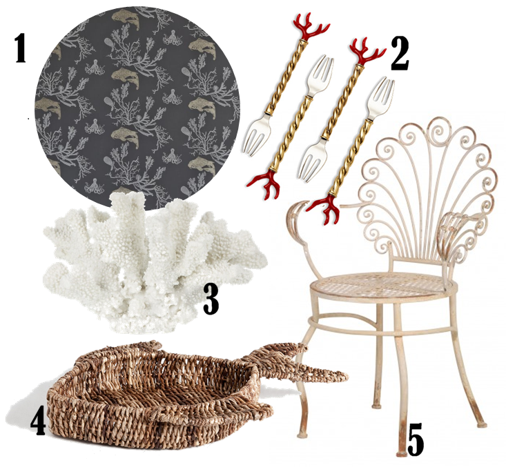 1. Coral Wallpaper by Barneby Gates, £78 per roll from Rockett St George 2. L'Objet Coral Cocktail Forks - Set of 4, £110 from Amara 3. Large Resin Antler Coral, £46 from Kelly Hoppen London 4. Fish-shaped basket, £29.99 from Zara Home 5. Scroll-back garden chair, £135 from Out There Interiors