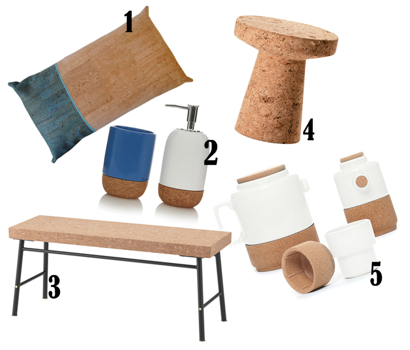 1. Rio Rectangular Cushion £95 from Mind the Cork, 2. Home Cork and Ceramic Tumbler £3 and Dispenser £5 both from George Home, 3. Cork Bench £100 from IKEA, 4. Vitra Cork Stool/Side Table £324 from Nest.co.uk, 5. Alma Gemea Pearl White Tableware prices start at £8 from Amara