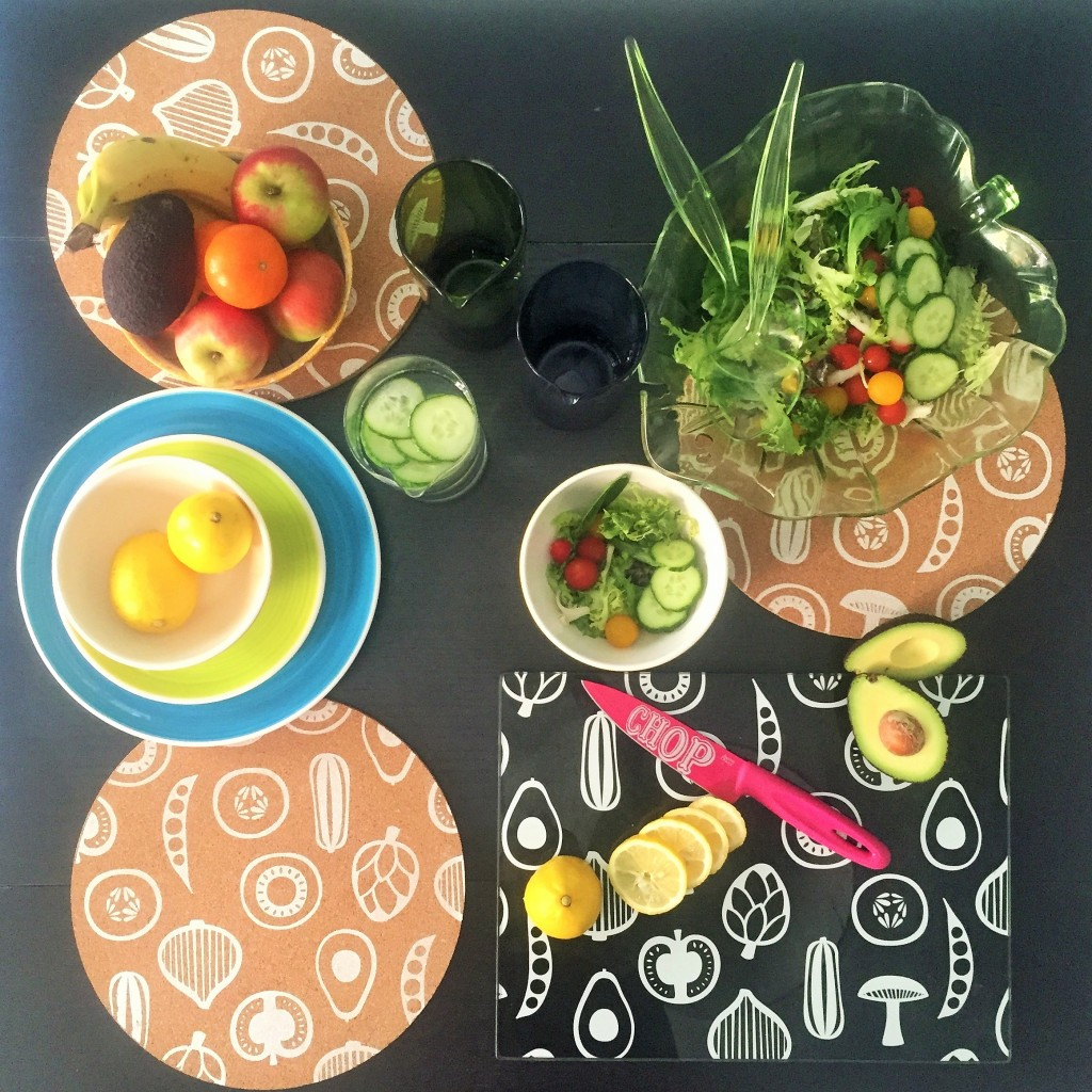 Premier Besa cork placemats set of 4, Premier Besa black and white glass chopping board, Bitossi Bloom Jug's, plates are Whittard's and salad bowl and servers are Laura Ashley
