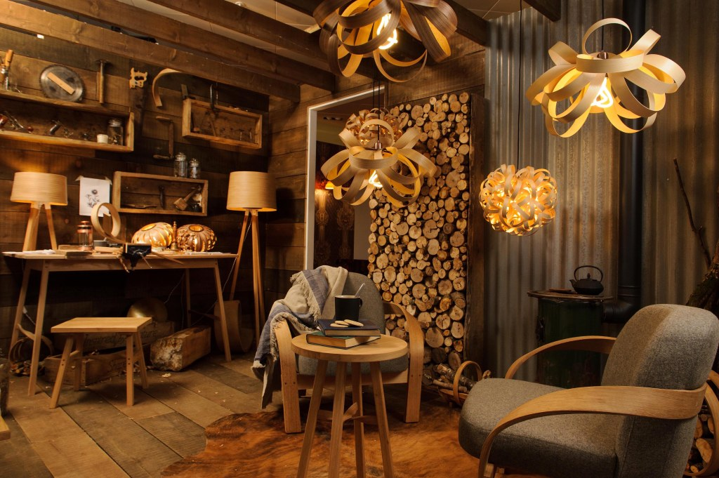 © Licensed to simonjacobs.com. 02/09/2015 London, UK. A general view of Tom Raffield's log cabin, one of the designer-curated Creative Spaces at John Lewis Oxford Street's new Home department which opens tomorrow (3rd September). FREE PRESS AND PR USAGE.Photo credit : Simon Jacobs
