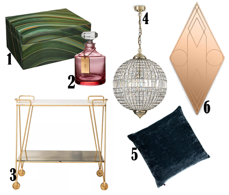 1. Marble Patterned Jewellery Box, £60 from John Lewis 2. Rebel by Waterford Decanter, £120 from John Lewis 3. Luxe drinks trolley, £350 from Oliver Bonas 4. Gem Ball XL Ceiling Pendant, £250 from M&S 5. William Yeoward Paddy Velvet Cushion in French Navy, £69 from Amara 6. Mask Rhombus Coral Wall Mirror, £550 from Heal's