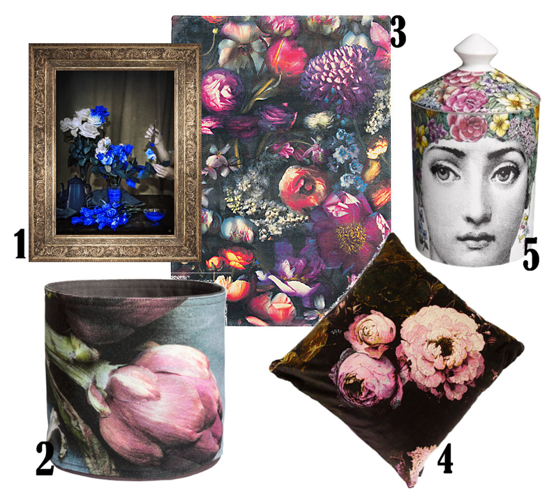 1. 'Scent Of Cobalt' Ornate Framed Canvas Print, £152.50 from Mine Heart 2. Small storage basket, £7.99 from H&M 3. Ted Baker Shadow Floral Rug, £995 from John Lewis 4. Boho & Co Floralism Velvet Cushion, £64 from Amara 5. Fornasetti Flora Scented Candle, £115 from The Conran Shop