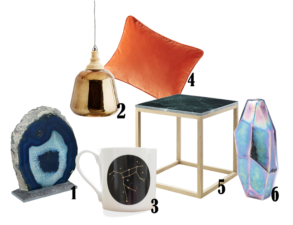 1. Hotel Agate Decorative Object £40 from John Lewis | 2. Nova Brass Pendant £175 from Abigail Ahern | 3. Constellation Mug: The Great Bear £18 from Lollipop Designs | 4. Penelope Cushion in Fox £40 from Neptune | 5. Cube Green Marble Coffee Table £249 from Holly's House | 6. Diamond Iris Vase £45 from dwell