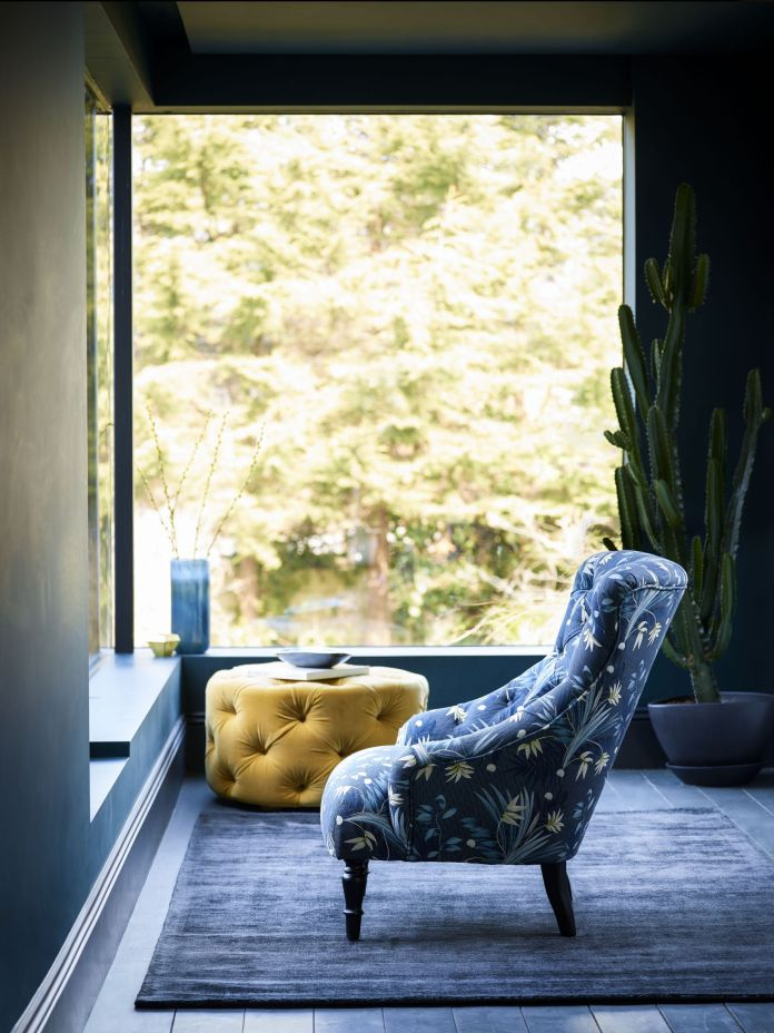 sofa.com Sark armchair in Anna Glover Paradise Basalt, Georgette footstool in Sunshine (2)