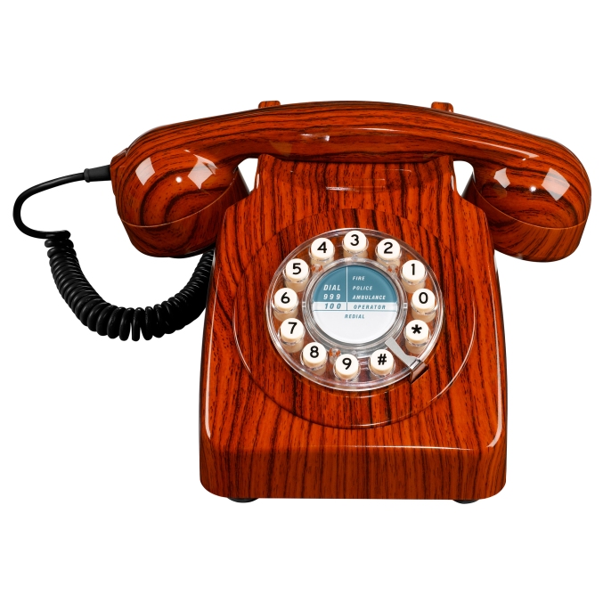 7. Retro 746 telephone in wood effect, £49