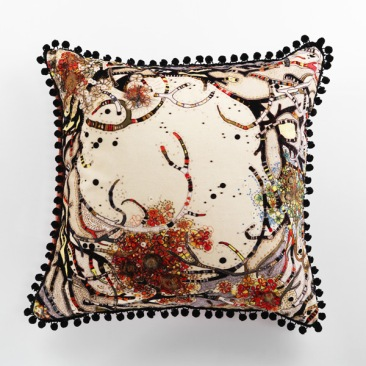 You Blow Me Away pom pom cushion by Louise Gardiner