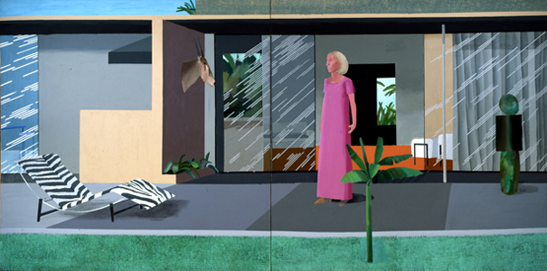 "DAVID HOCKNEY""BEVERLY HILLS HOUSEWIFE"" ACRYLIC ON  2 CANVASS 72 X144"""