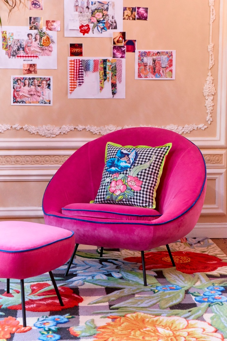 House of Holland x Habitat - Embargoed until 1 March 2017 - Misty velvet armchair - £595.00 - Misty velvet foostool - £195.00 - Photography by David Titlow