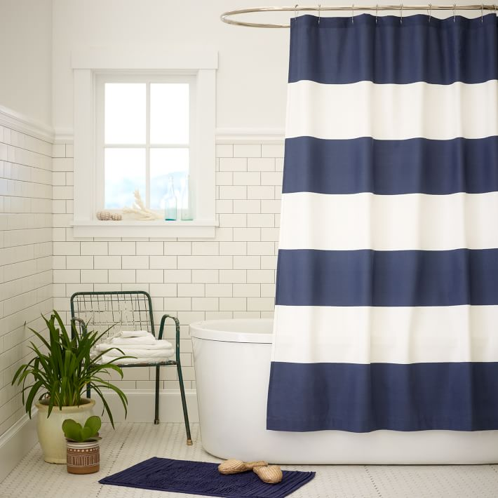 stripe-white-and-blue-shower-curtains-sets-for-scandinavian-bathroom-with-white-tub-and-tile-with-black-chair