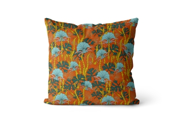The Curious Department - Coral Odyssey velvet cushion in Orange, £110