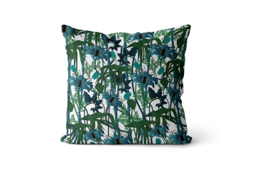 The Curious Department - Electric Lagoon velvet cushion in White, £110