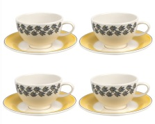 Portmeirion Westerly Yellow Tea Cup and Saucer Set of 4 £80